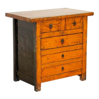 Antique Chinese Orange Painted Lacquered Nightstand For Sale