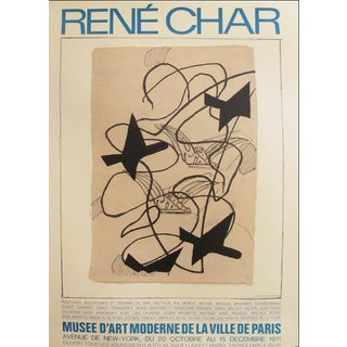 1971 Original French Exhibition Poster, René Char (Blue), Museum of Modern Art in Paris For Sale