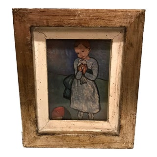 Small Vintage Mid-Century Modern Italian Distressed Frame & Picasso Child With Dove Print For Sale