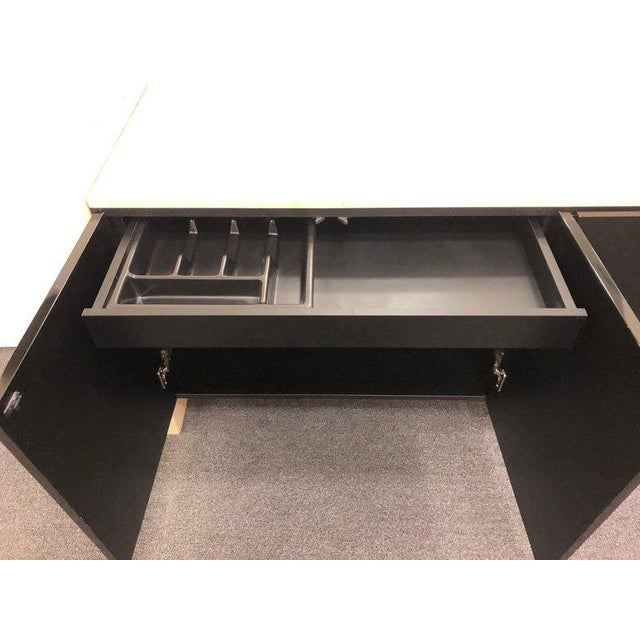 Lacquer Italian Travertine and Black Lacquered Credenza For Sale - Image 7 of 8