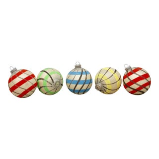 Striped West German Christmas Ornaments - Set of 5
