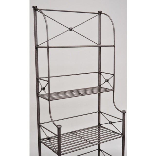 Contemporary Pier 1 Medici Collection Pewter Iron Bakers Rack Shelf / Bathroom Stand Etagere For Sale - Image 3 of 11