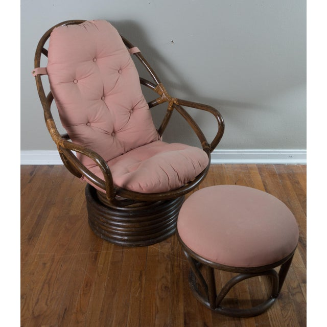 Astounding 1970S Vintage Pink Swivel Rattan Chair Ottoman Pabps2019 Chair Design Images Pabps2019Com