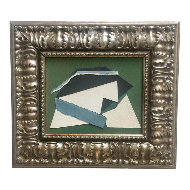 Abstract Collage Green, White, Black and Blue For Sale
