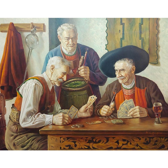 Traditional Otto Eichener -The Card Players -Oil Painting For Sale - Image 3 of 11