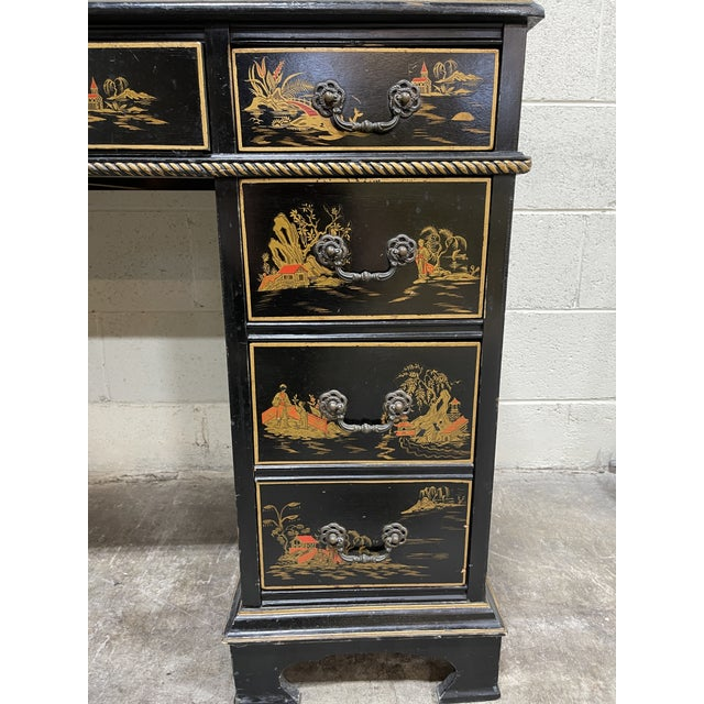 Chinoiserie Leather Too Writing Desk For Sale In Richmond - Image 6 of 13