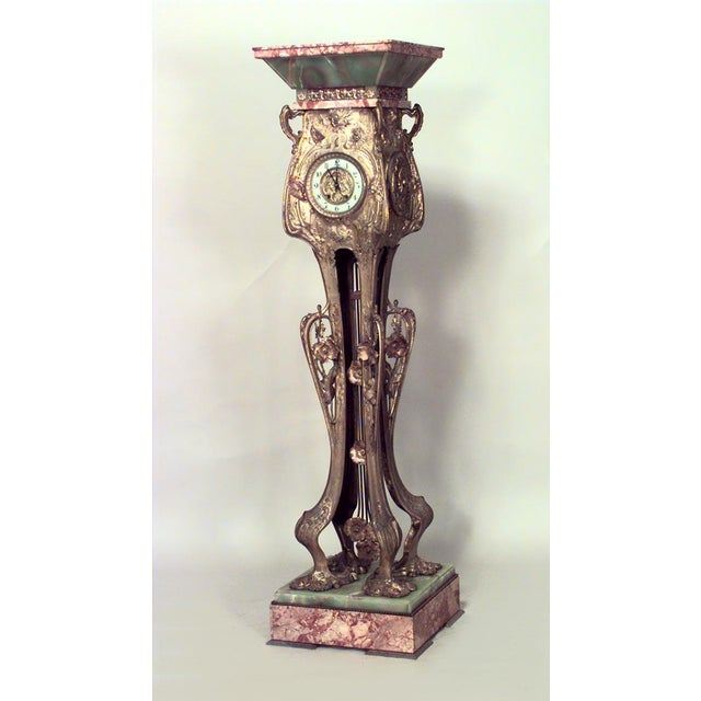 Late 19th Century French Art Nouveau Bronze Dore Grandfather Clock For Sale In New York - Image 6 of 6