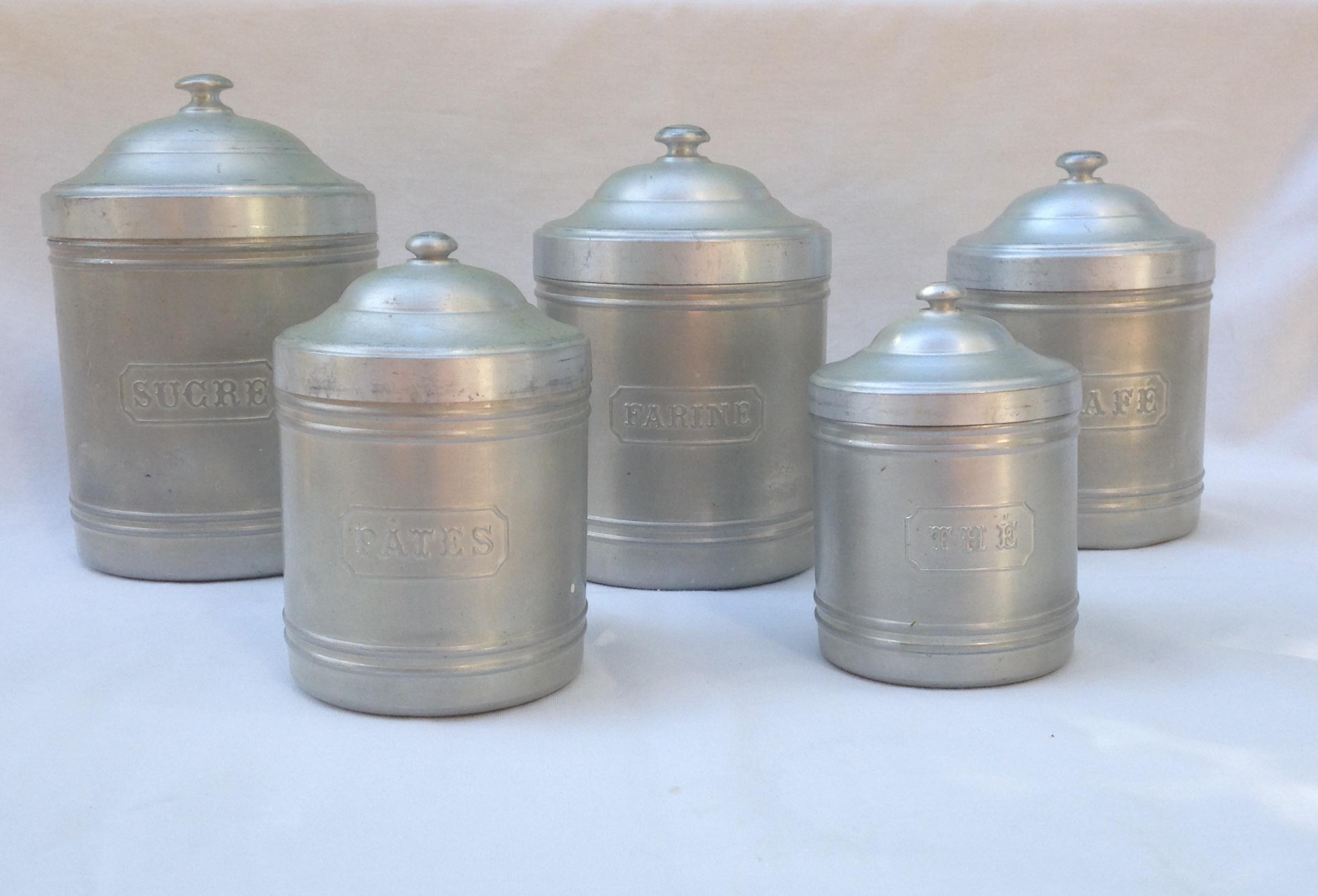 Vintage French Kitchen Canisters   Set Of 5   Image 2 Of 9