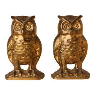 Brass Owl Bookends - A Pair