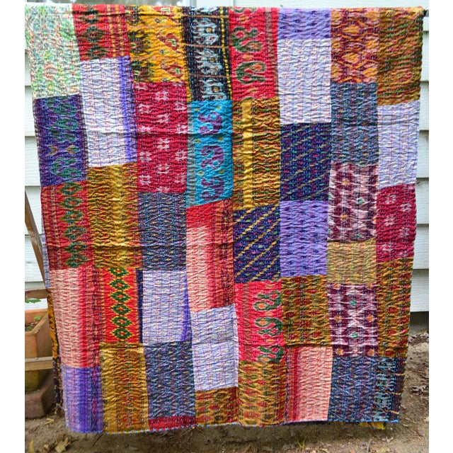 Handmade Woven Silk Sari Pieces Kantha Quilt - Image 3 of 8