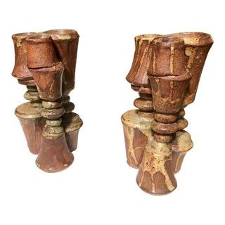 Stacked Stoneware Vases by Bernard Rooke - A Pair For Sale