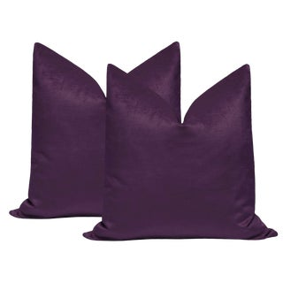 "22"" Violet Luxe Velvet Pillows - a Pair For Sale"