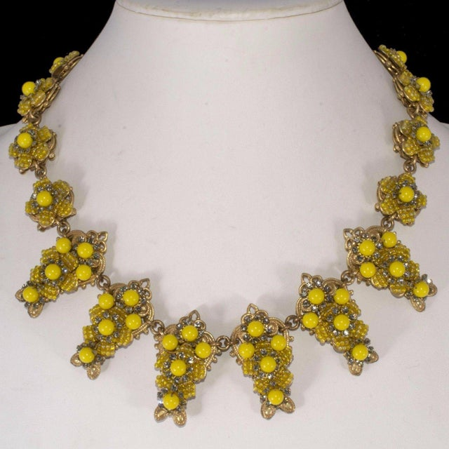 Stanley Hagler by Mark Mercy Necklace Earrings Set Vintage Yellow Beads Rhinestones For Sale - Image 4 of 4