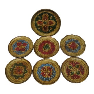 Vintage Florentine Coasters - Set of 7 For Sale