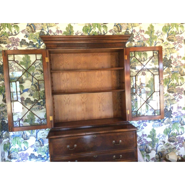 Custom Made English Breakfront Secretary in Chinese Chippendale Style For Sale - Image 9 of 11