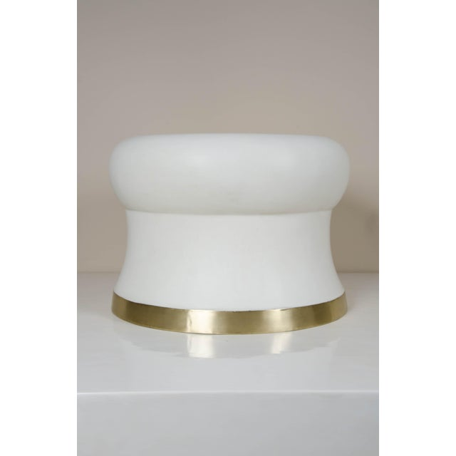Robert Kuo Dian Drumstool with Brass Trim For Sale - Image 4 of 4
