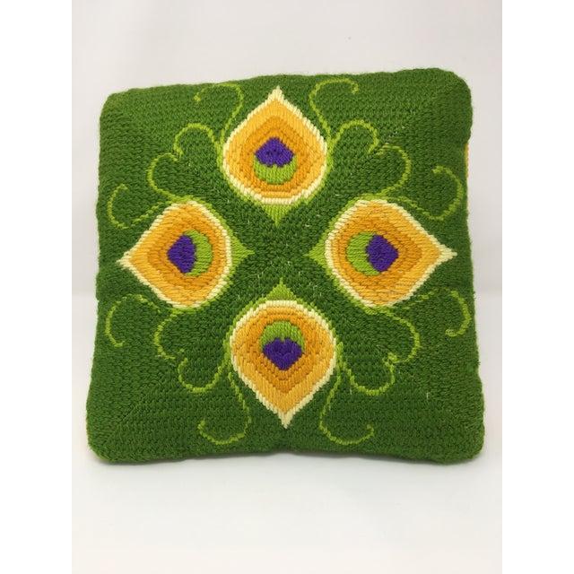 Green Mid-Century Modern Artful, Handmade Crewel Pillow For Sale - Image 8 of 8