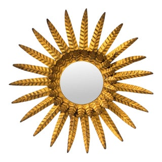 1920s Gilded Sunburst Mirror For Sale