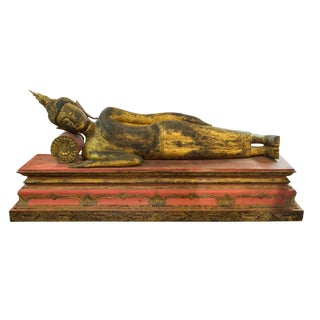 Vintage South East Asian Reclining Buddha Statue For Sale