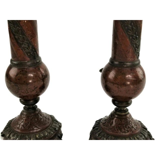 Pair of French Champlevé Bud Vases - Enamel Gilt Bronze Brass Bud Vases For Sale In San Francisco - Image 6 of 13