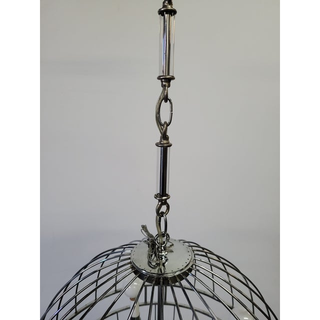 Contemporary Paul Marra Design Polished Nickel Sphere Chandelier For Sale - Image 3 of 7