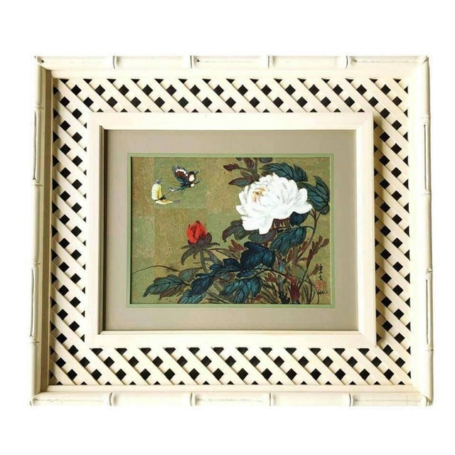 Hui Chi Mau Vintage Art Print, Floral and Butterfly Decor in a Wide, Unique Frame For Sale In Houston - Image 6 of 6