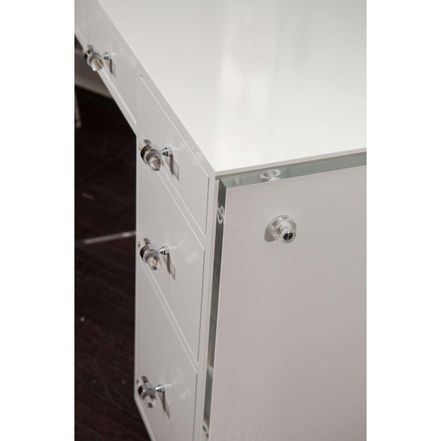 Chrome Custom White Lacquer Desk with Lucite Side Panels For Sale - Image 7 of 8