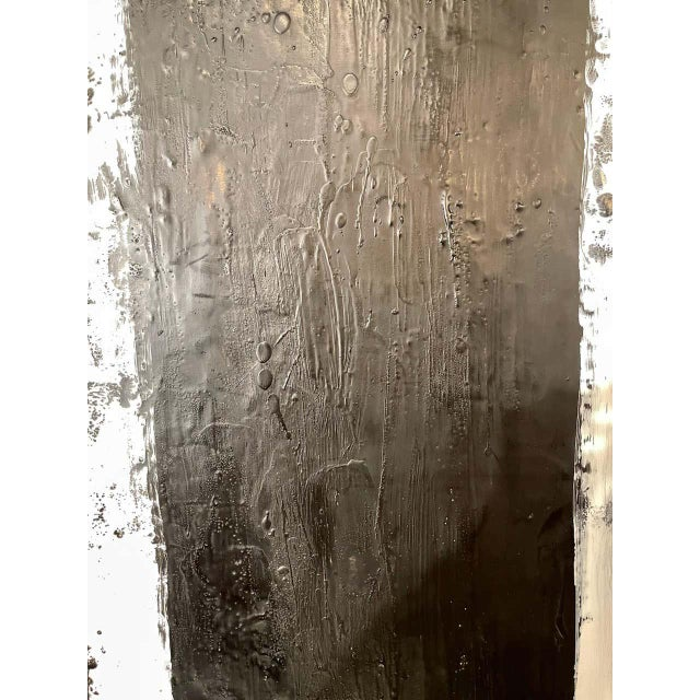 "Encaustic Lynn Basa Encaustic Black and White Stripe Panel ""Three Ways of Looking Black"" For Sale - Image 7 of 13"