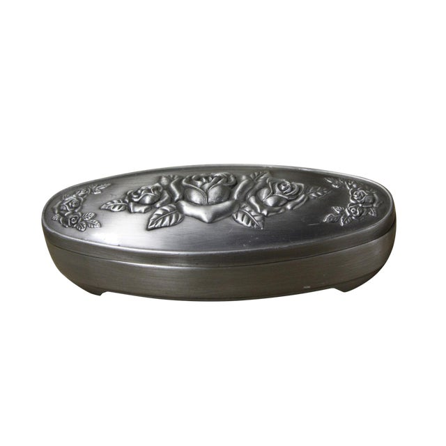 Pewter Oval Shape Jewelry Storage Box For Sale