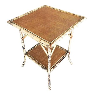 Restored Aesthetic Movement Tiger Bamboo Pedestal Side Table With Leg Braces For Sale
