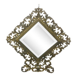 Mid 20th Century Brass Scroll Frame Mirror For Sale