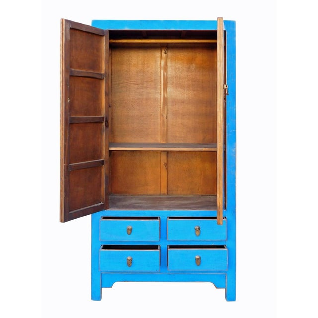 Tall Chinese Armorie in Rustic Blue - Image 5 of 6