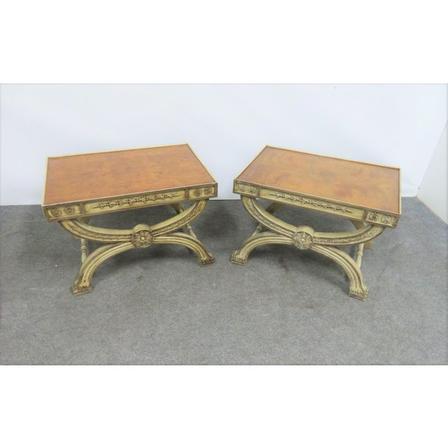 Regency Cream Carved X Base Stools- a Pair For Sale - Image 4 of 8