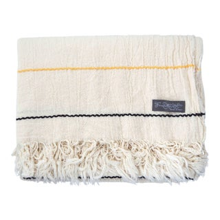 FirmaMenta Italian Eco-Friendly Recycled Cotton Throw With Black and Yellow Stripes For Sale