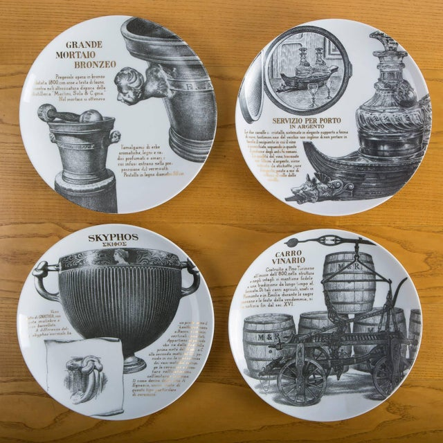 Italian Set of 12 Fornasetti Plates for Martini & Rossi For Sale - Image 3 of 8