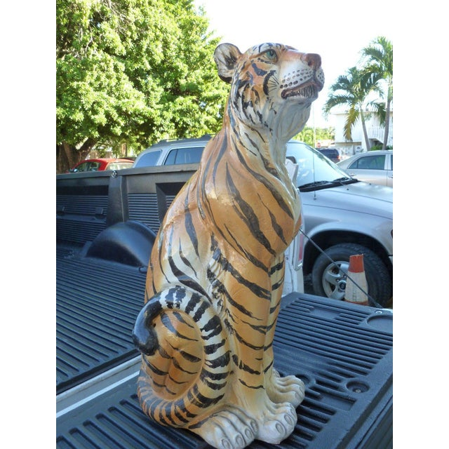 Boho Chic Pair of Large Mid-Century Italian Glazed Terracotta Tigers, Mother and Her Cub For Sale - Image 3 of 13