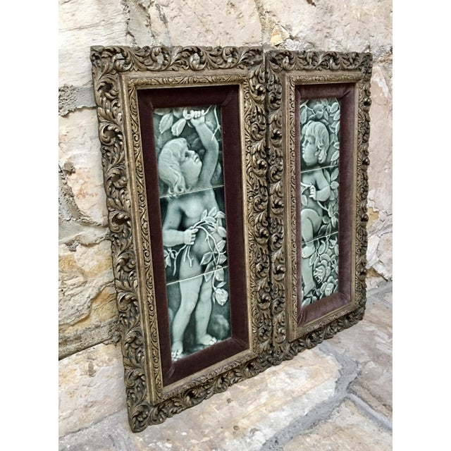 Victorian Late 19th Century Framed Tile Set by Isaac Broome - a Pair For Sale - Image 3 of 12