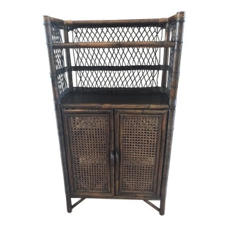 Striking Mid-Century Two Door / Four Shelves Rattan and Wood Cabinet For Sale