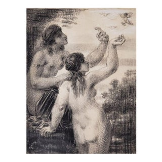 Charcoal Drawing of Two Women Chasing A Cherub by William Perkins Babcock For Sale