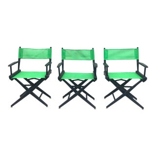 Vintage Director Style Chairs-Black & Green For Sale