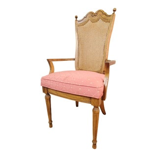 Vintage Cane Back Chair with Red Upholstery For Sale