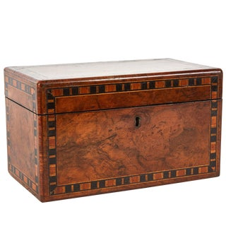 19th Century English Walnut Tea Caddy Box With Inlay For Sale