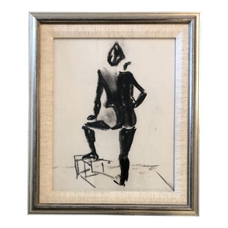 Original Vintage Charcoal Nude Study Mid Century For Sale