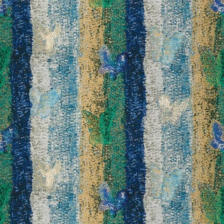 Hunt Slonem for Lee Jofa, Fritillery Fabric, Blue/Green, 1 Yard For Sale