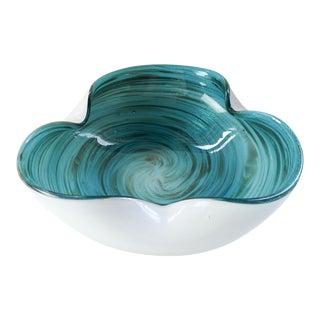 Blue & White Swirl Murano Glass Bowl For Sale