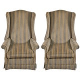 Image of Pr Hollywood Regency High Back Wing Chairs For Sale