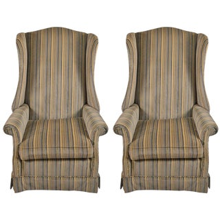 Pr Hollywood Regency High Back Wing Chairs For Sale