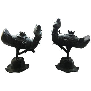 Pair of Qing Bronze Duck Incense Burner Statues on Wooden Stands For Sale