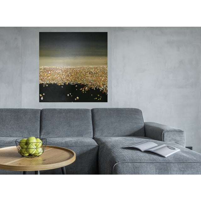 LA is an oil painting. Abstract landscape of the LA 's glowing nights and planes in the night sky. This in one of the...