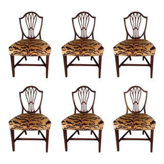 Set of six English Mahogany Dining Chairs For Sale